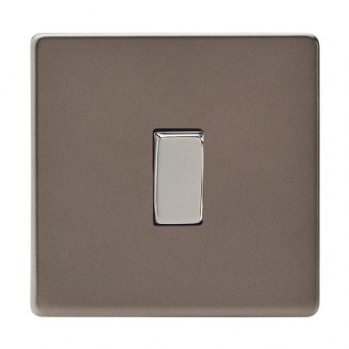 Varilight XDR1S Screwless Pewter 1 Gang 10A 1 or 2 Way Rocker Light Switch